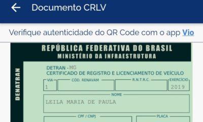 CRLV Digital - Foto: Polícia Civil de Minas Gerais/Divulgação