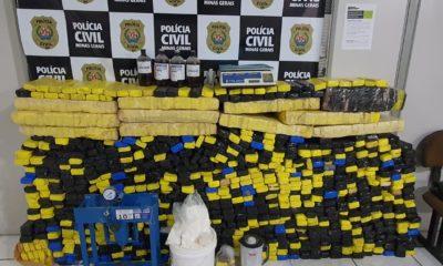 Polícia desarticula laboratório e apreende 680 quilos de drogas em Vespasiano - Foto: Divulgação/PCMG