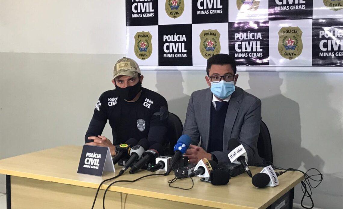 Delegado Marcus Vinícius Lobo Leite em entrevista coletiva sobre o caso - Foto: Divulgação/PCMG