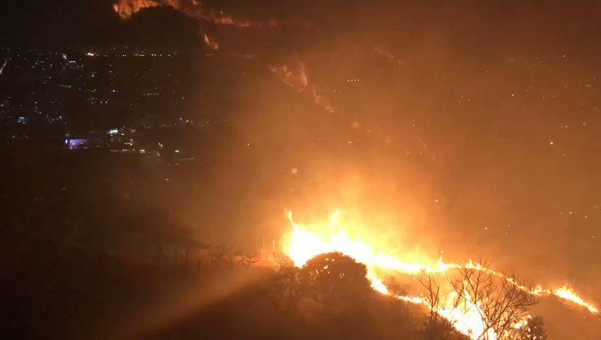 Incêndio atinge área de vegetação na Avenida Raja Gabaglia, em Belo Horizonte - Foto: Divulgação/Corpo de Bombeiros