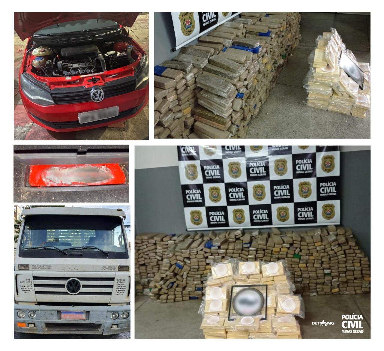 Polícia localiza mais de meia tonelada de droga em fundo falso de caminhão em BH - Foto: Divulgação/PCMG