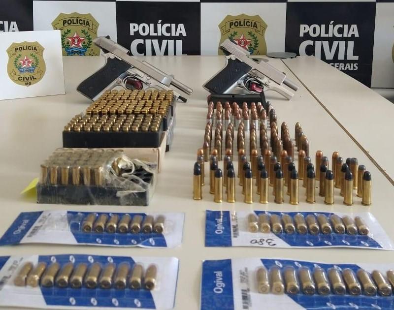 Polícia apreende mais de 360 munições e duas armas de fogo em Alfenas - Foto: Divulgação/PCMG