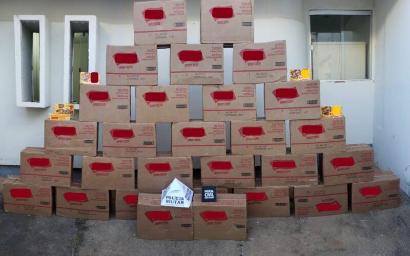 Ação conjunta recupera 870 caixas de chocolates de carga em Campos Altos - Foto: Divulgação/PCMG