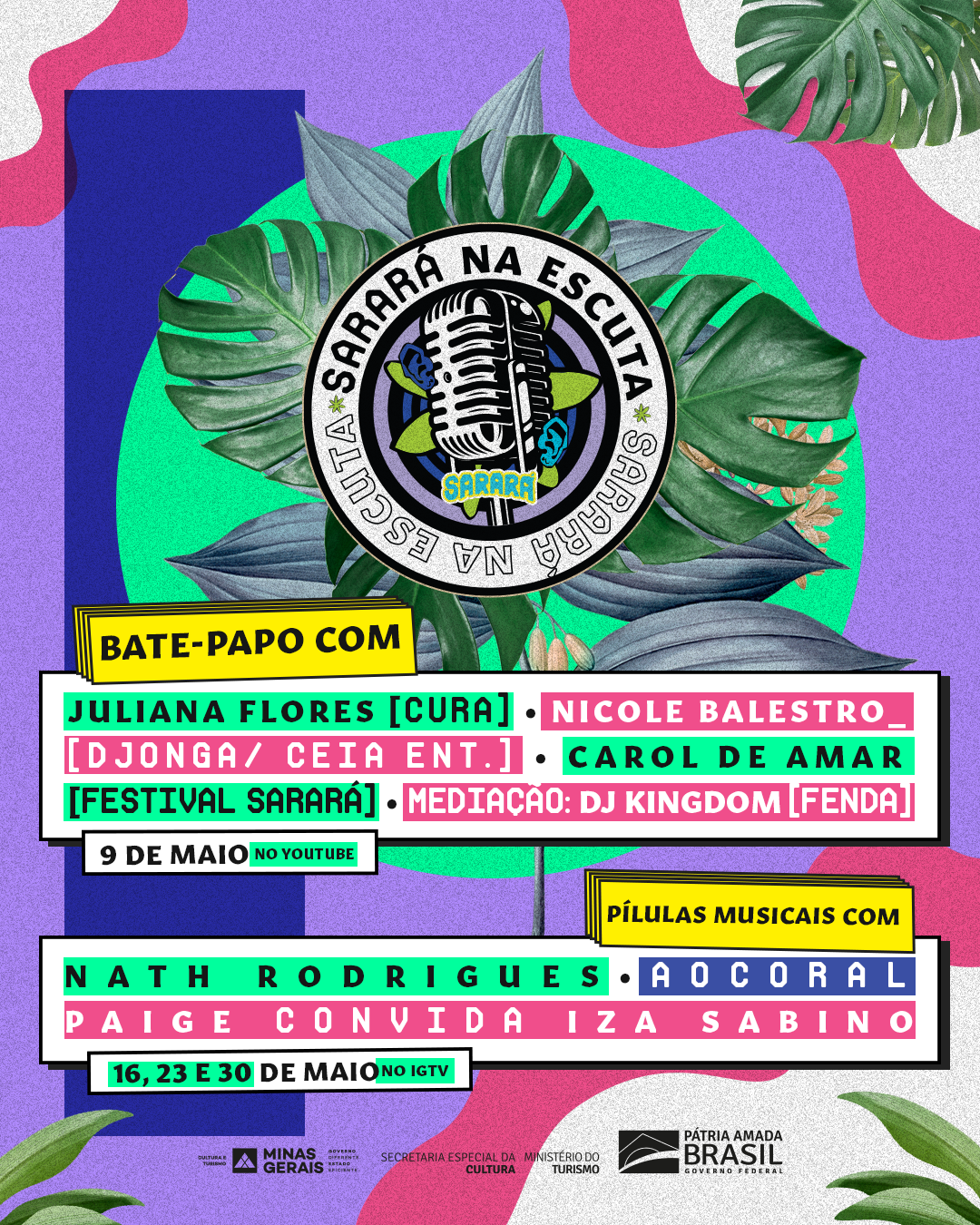 Festival Sarará provome drops de shows com Nath Rodrigues, Ao Coral, Paige e Iza Sabino na websérie Sarará na Escuta - Foto: Divulgação