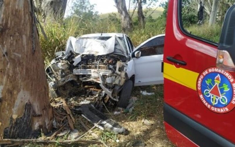 Homem fica gravemente ferido em acidente com carro na BR-491, em Varginha - Foto: Divulgação/Corpo de Bombeiros