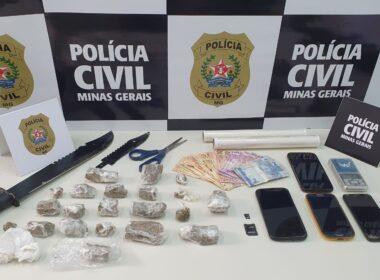 Dupla é presa em ação contra o tráfico de drogas em Guaxupé - Foto: Divulgação/PCMG