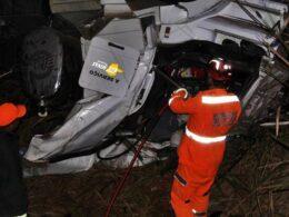 Caminhoneiro morrem após capotamento em acidente na BR-116 em Muriaé - Foto: Divulgação/Silvan Alves
