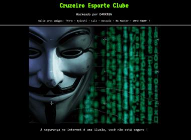 Site do Cruzeiro sofre novo ataque de hacker - Foto: Reprodução