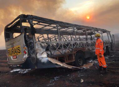 Trabalhador morre após incêndio em canavial atingir ônibus em Ituiutaba - Foto: Divulgação/CBMMG