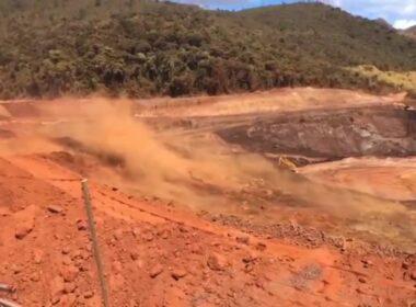 Talude se rompe em mineradora de Sarzedo - Foto: Reprodução