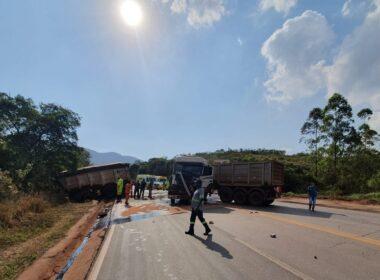 Engavetamento entre seis veículos deixa uma pessoa ferida na BR-040, em Itabirito - Foto: Divulgação/Via 040