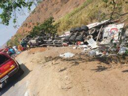 Homem morre após caminhão capotar na BR-116, em Engenheiro Caldas - Foto: Reprodução/Redes Sociais