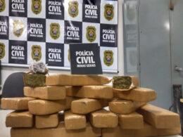 Três pessoas são presas por tráfico com mais de 15kg de drogas apreendidas em Barbacena - Foto: Divulgação/PCMG